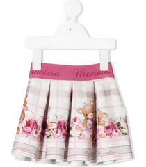 monnalisa teddy bear rose print pleated skirt - pink
