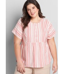 lane bryant women's striped peplum top 34/36 coral beach stripe