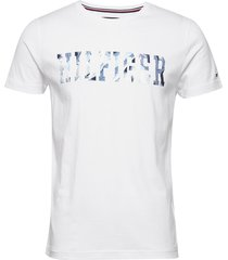 hilfiger floral tee t-shirts short-sleeved vit tommy hilfiger