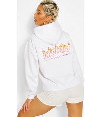 babygirl hoodie met brandende print op rug, white