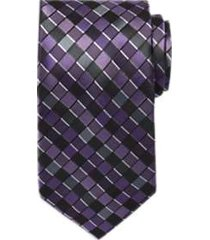awearness kenneth cole black & purple geometric extra long narrow tie