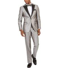 tallia orange men's slim-fit silver twill suit