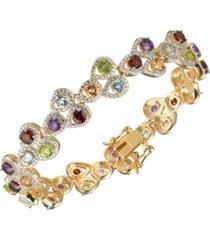 multi gemstone (8 1/2 ct. t.w.) tear drop tennis bracelet in 18k gold sterling silver