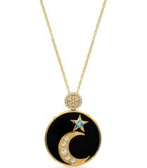 women's 14k gold plated celestial moon star pendant necklace medallion in sterling silver