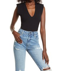 afrm ami rib bodysuit, size x-small in noir at nordstrom