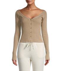 lea & viola women's button-front rib-knit top - black - size l