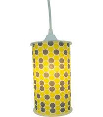 luminária pendente cilíndrica crie casa poás cinza e amarelo