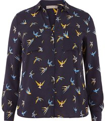 curve bird print shirt