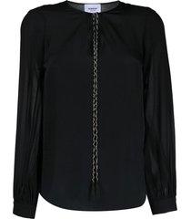 dondup black tassel-tie blouse