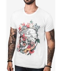 camiseta hermoso compadre flower skull masculina