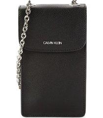 calvin klein women's haley chain strap phone case - black