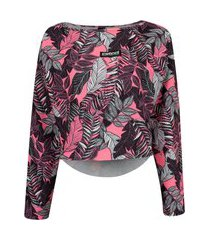 blusa feminina manga longa cropped colcci estampado