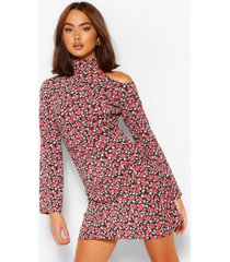 bloemenprint mini jurk met open schouders, roze