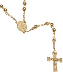 18k goldplated stainless steel beaded rosary necklace