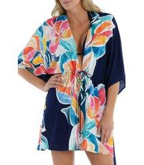 women's la blanca petals tie front cover-up caftan, size small/medium - blue