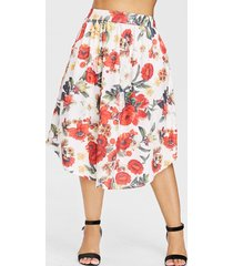 plus size elastic waist print skirt