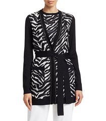fine wool & silk zebra-print twofer sweater