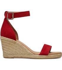erin sandalette med klack espadrilles röd pavement