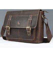 vintage vera pelle business crossbody borsa per uomo