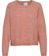 brook knit o-neck stickad tröja rosa second female