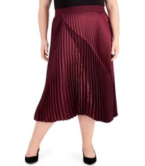 alfani plus size mixed-media pleated midi skirt, created for macy's