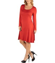 24seven comfort apparel long sleeve flared plus size t-shirt dress