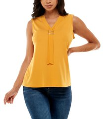 women's sleeveless top with neck ties at buckle