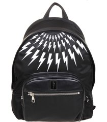 neil barret fair-isla thunderbolt backpack in black nylon