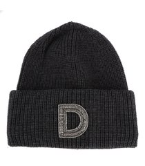 dondup wool beanie hat with monogram