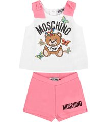 moschino white and fuchsia babygirl suit with teddy bear and butterflies