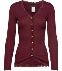 silk cardigan regular ls w/rev vint gebreide trui cardigan rood rosemunde
