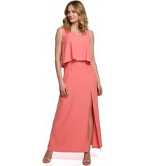 jurk makover k048 maxi jurk met ruche top - oranje