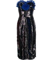 marco de vincenzo bustier vinyl dress - black
