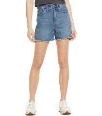women's madewell women's the momjean high waist cutoff denim shorts, size 24 - blue