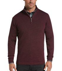 joseph abboud wine 1/4 zip mock neck wool sweater