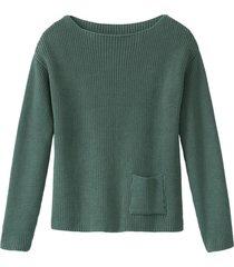 pullover met boothals van bio-katoen, zeegras 40/42