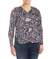 lea & viola curve women's plus ruffled bib blouse - black multi - size 1x (14-16)