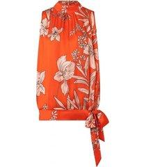 ana alcazar top & broek oranje met bloemen rood
