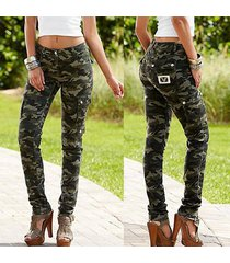 women's fashion camouflage print high waist skinny long pants good elasticity zh