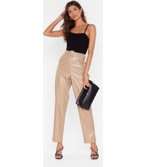 womens faux leather gonna let you down belted pants - beige