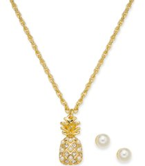 "charter club gold-tone crystal & imitation pearl pineapple pendant necklace & stud earrings boxed set, 17"" + 2"" extender, created for macy's"