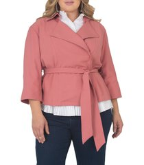 plus size women's standards & practices belted crop jacket, size 3x - pink
