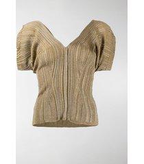 chloé metallic-thread rib-knit top