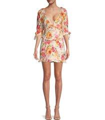for love & lemons women's julep floral mini dress - coral multi - size xs