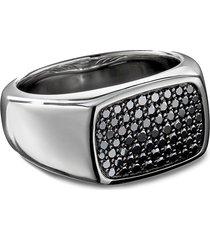 diamond pavé silver signet ring