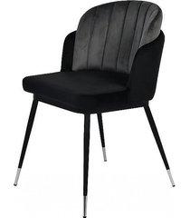 krzesło tapicerowane welurem stanley czarno szare