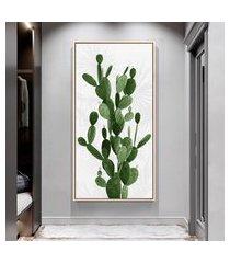 quadro 100x50cm folhas tropicais cacto pera canvas em moldura flutuante filete