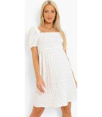 zwangerschap geplooide gesmokte jurk met franjes, white
