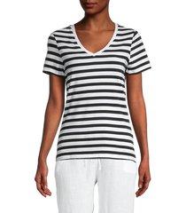 saks fifth avenue women's striped v-neck t-shirt - white black - size xs