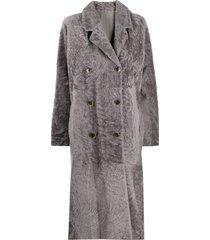 amen long line coat - grey